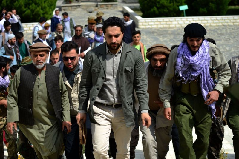 Ahmad Massoud arrives to attend and address a gathering.