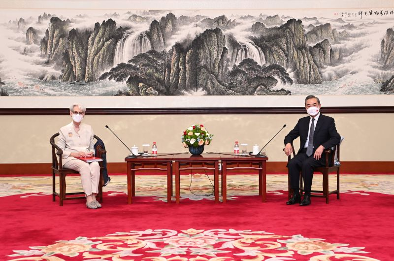 Chinese State Councilor and Foreign Minister Wang Yi meets with U.S. Deputy Secretary of State Wendy Sherman in Tianjin, China.