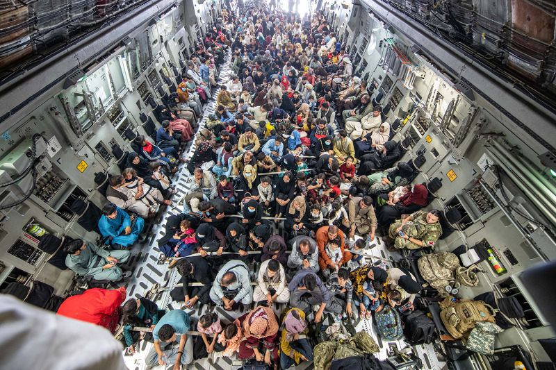 A full flight of 265 people are evacuated out of Kabul.