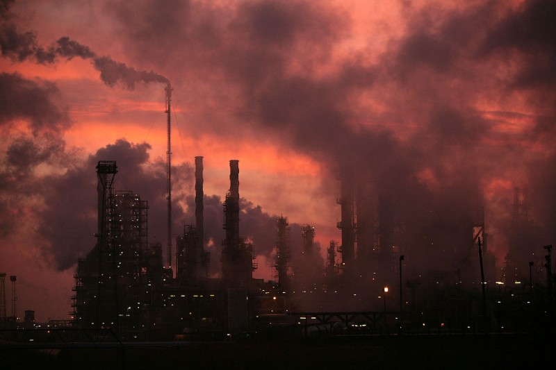 The sun rises over Lindsey oil refinery.