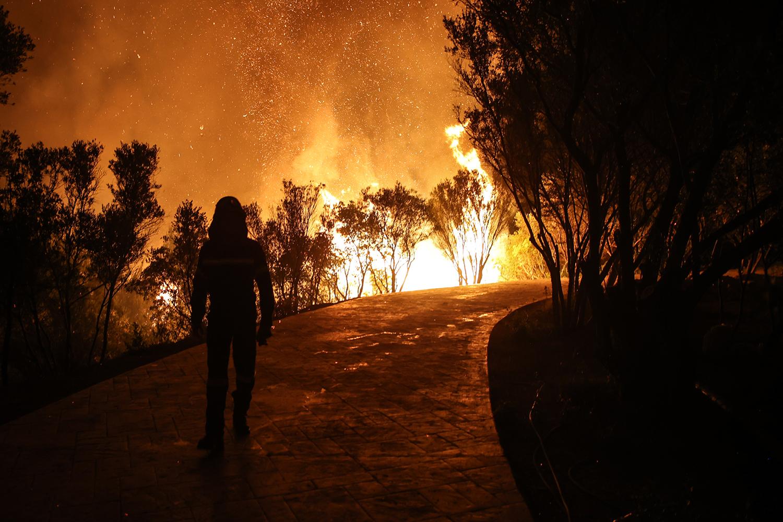 A fire burns in Greece