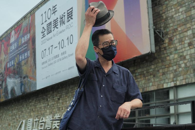 A Hong Kong artist poses in Taiwan.