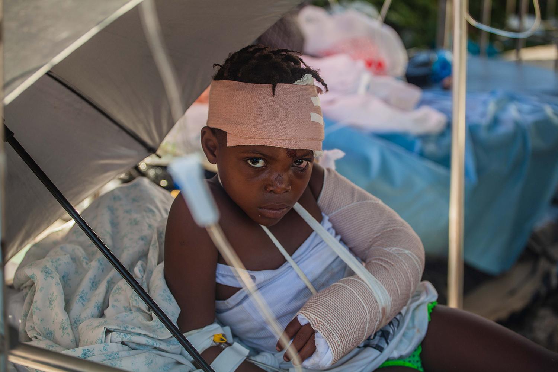Injured boy after Haiti earthquake