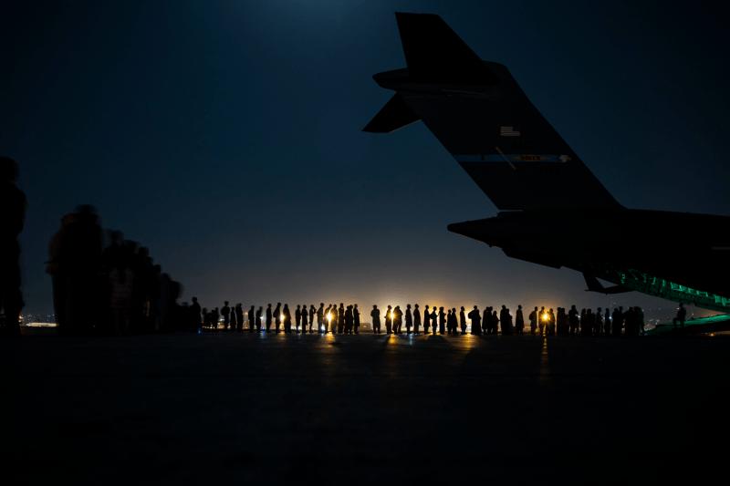 An air crew prepares an evacuation flight out of Kabul.