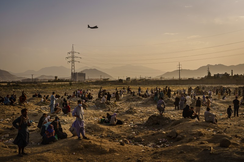 A military transport plane takes off in Kabul.