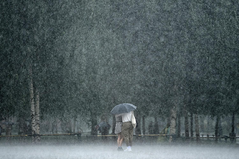 Couple in rain in Russia