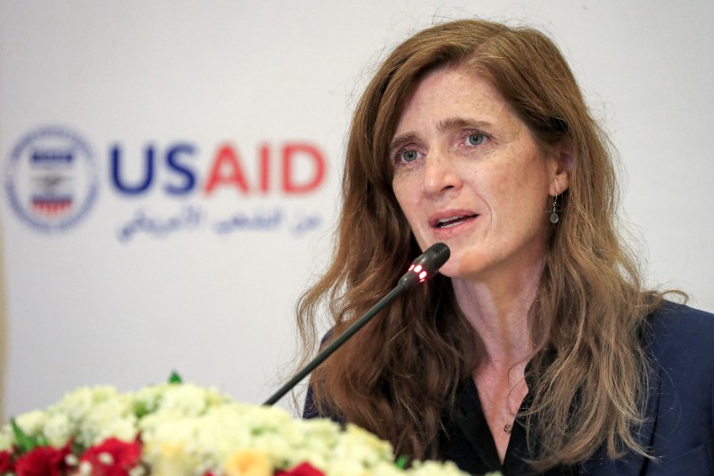 USAID Administrator Samantha Power speaks in Khartoum during a trip to East Africa.