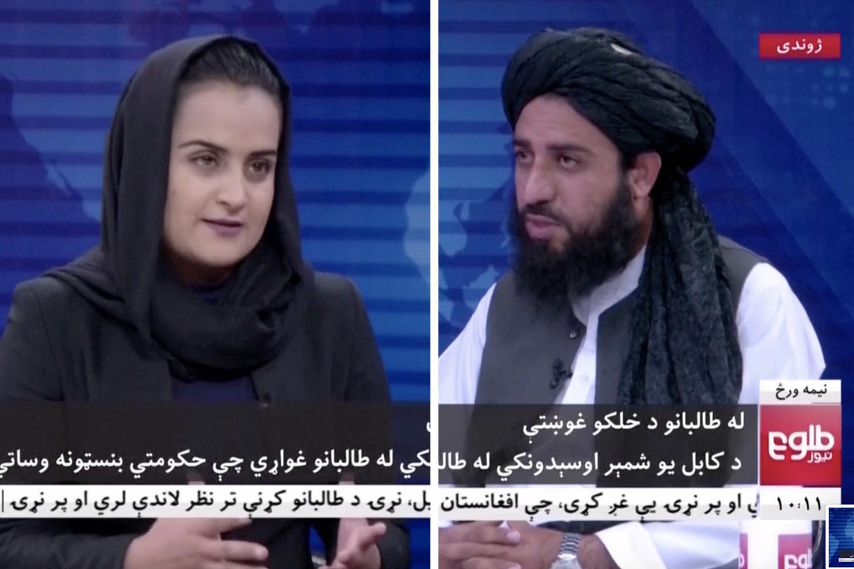 Tolo News anchor Beheshta Arghand interviews Taliban spokesperson