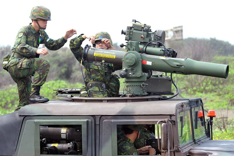 Taiwanese soldiers use U.S.-made weapons.