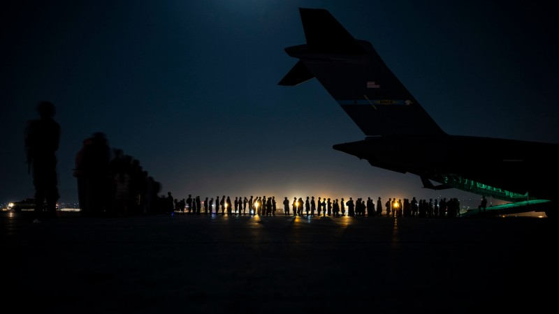 A U.S. military plane prepares to board evacuees at Kabul's airport.