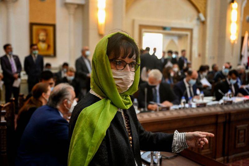U.N. Afghanistan envoy Deborah Lyons attends a meeting in Kabul.