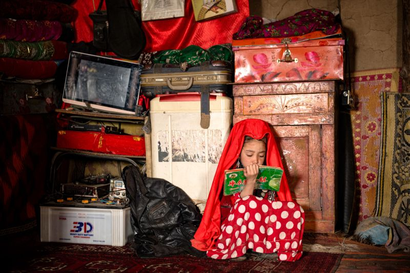 A young Afghan Kyrgyz girl reads.