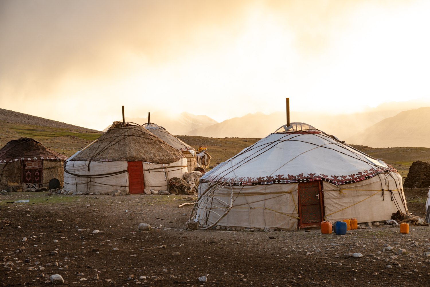 Traditional yurts in the mountains of northeastern Afghanistan