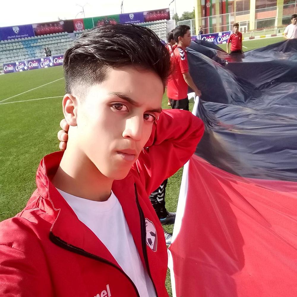 Afghan youth soccer player Zaki Anwari poses.