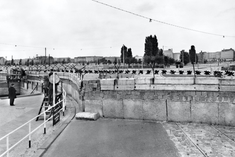 A picture taken in 1961 shows the newly built Berlin Wall near Potsdamer Platz.