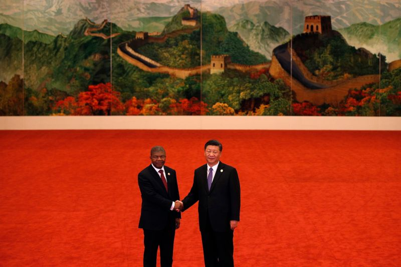 Angolan President Joao Lourenco shakes hands with Chinese President Xi Jinping during the Forum on China-Africa Cooperation held in Beijing on Sept. 3, 2018.