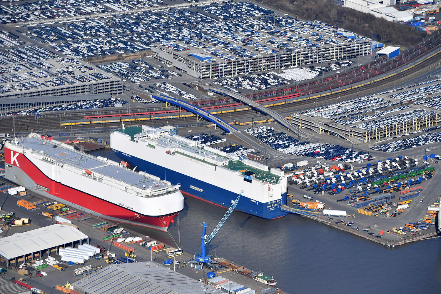 Cars destined for export to the United States stand at Bremerhaven port in Germany on March 19, 2018.