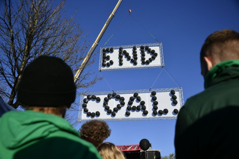 Demonstrators take part in a climate march in Bonn, Germany.