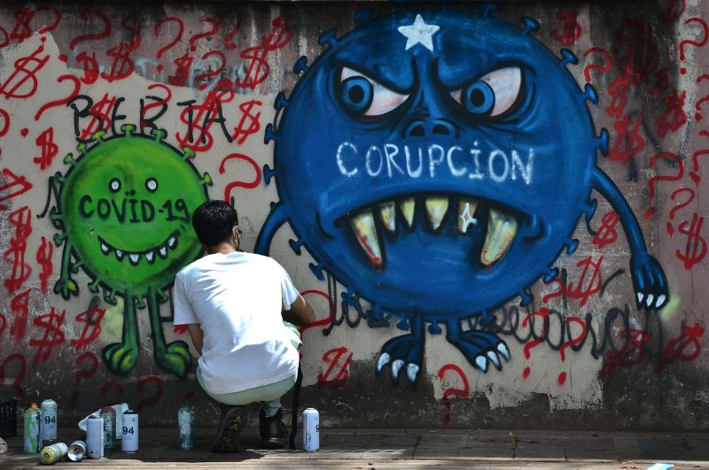 A street artist paints a mural about corruption and COVID-19 in the Honduran capital, Tegucigalpa, on July 7, 2020.