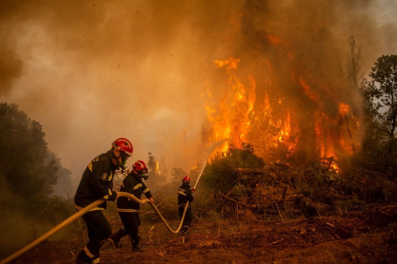 Serbian firefighters use a water hose to extinguish the burning blaze of a forest fire in the Greek village Glatsona on Evia (Euboea) island on Aug. 9.