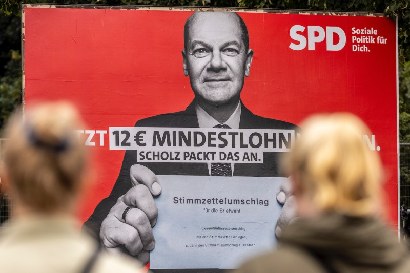 An election campaign of Olaf Scholz in Berlin