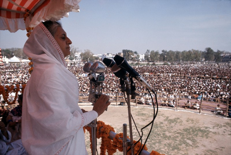 Indira Gandhi gives a speech.