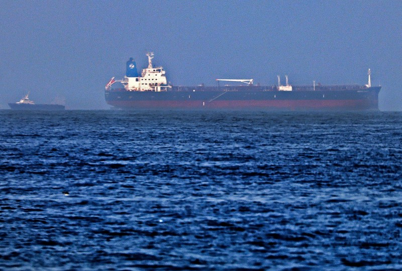 The Mercer Street, an oil products tanker, is shown off the Port of Fujairah, United Arab Emirates, on Aug. 3.