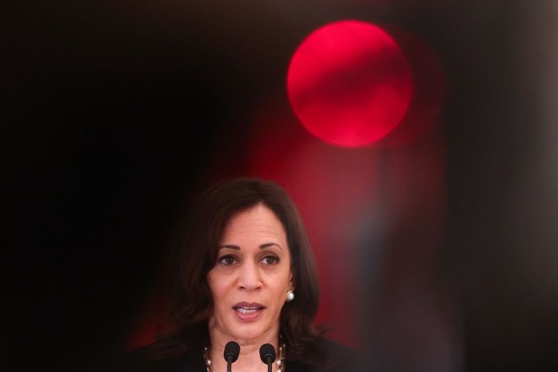 U.S. Vice President Kamala Harris speaks during a joint news conference with Singaporean Prime Minister Lee Hsien Loong in Singapore on Aug. 23.