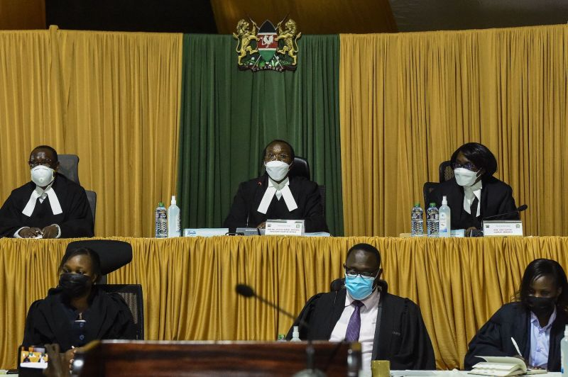 In the back row, from left to right, Lady Justice Roselyn Nambuye, President Court of Appeal Justice Daniel Musinga, and Lady Justice Hannah Okwengu are seen during the ruling of the contested constitutional reforms at the Kenyan Court of Appeal in Nairobi on Aug. 20.
