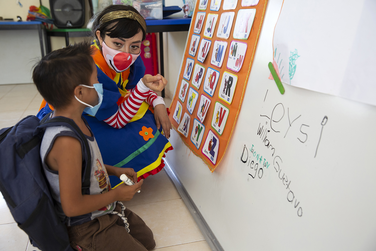 Mary Carmen Che Chi teaches a small class of 6- to 8-year-olds at the Ignacio Ramírez Calzada primary school in Celtún on May 3.