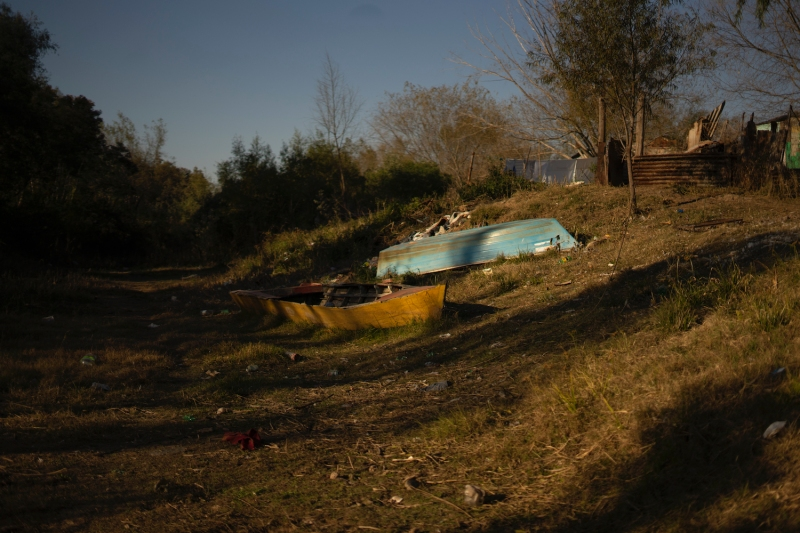 Fishing boats are stranded in a completely dry creek in Rosario, Argentina, on July 5.