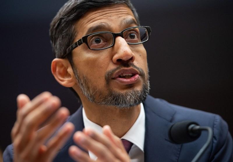 Google CEO Sundar Pichai testifies during a U.S. House Judiciary Committee hearing in Washington on Dec. 11, 2018.