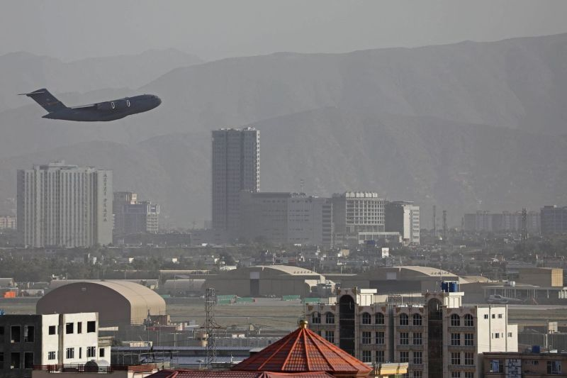 A U.S. Air Force aircraft takes off from the military airport in Kabul on Aug. 27.