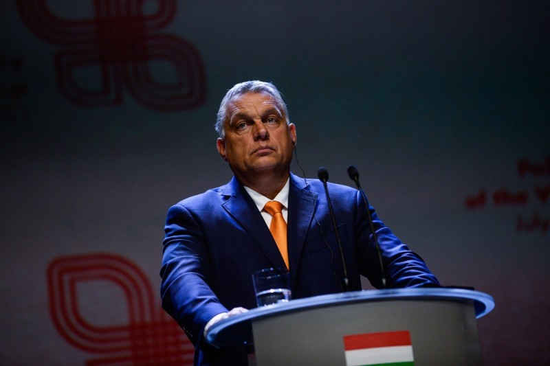 The Hungarian prime minister is at a press conference.