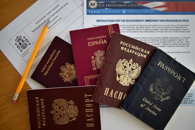 Russian, U.S., Spanish, and British passports