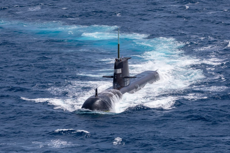 An Australian Navy submarine is seen during a maritime exercise.