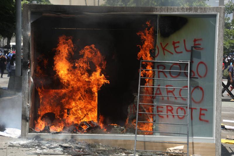 A Chivo Wallet Bitcoin ATM burns in San Salvador