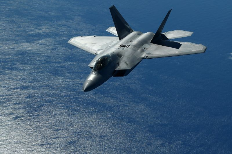 The F-22 Raptor after refuelling from the KC-10 Extender off the Queensland coast on July 17, 2019 in Brisbane, Australia.