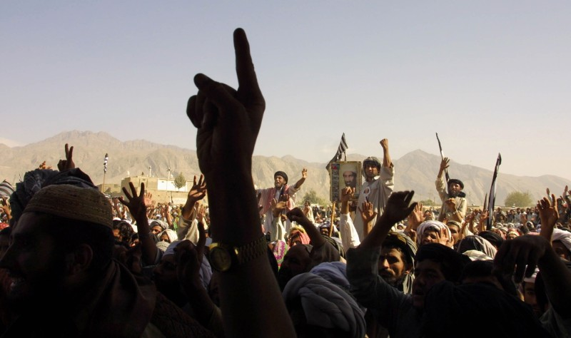 Thousands of Taliban supporters rallied October 1, 2001 in the town of Quetta, Pakistan.