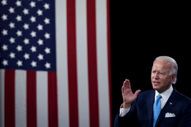 Then-U.S. presidential candidate Joe Biden participates in a virtual fundraising event in Wilmington, Delaware, on Aug. 12, 2020.