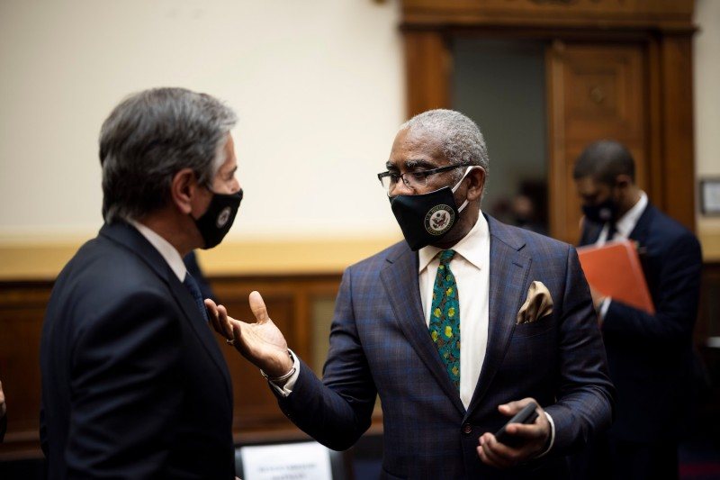 Antony Blinken, U.S. secretary of state, speaks with Representative Gregory Meeks, a Democrat from New York, and chairman of the House Foreign Affairs Committee, after the conclusion of a House Foreign Affairs Committee hearing in Washington, D.C., U.S., on Wednesday, March 10, 2021.