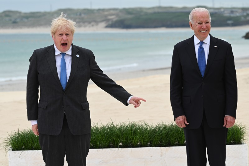 U.S. President Joe Biden and British Prime Minister Boris Johnson attend the G-7 summit.