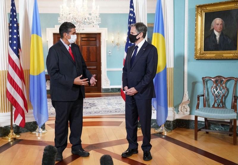 Palauan President Surangel Whipps Jr. meets with U.S. Secretary of State Antony Blinken.