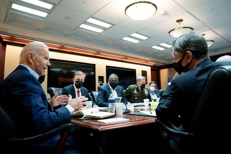 U.S. President Joe Biden meets with his national security team.