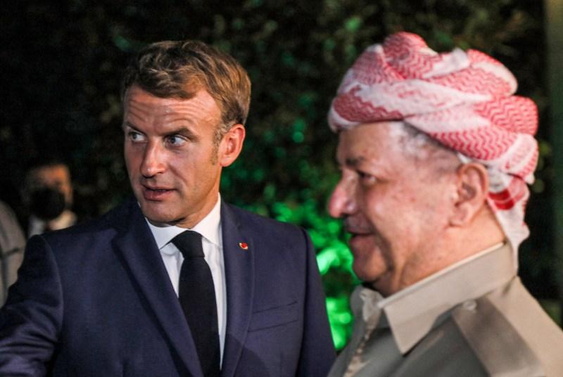 French President Emmanuel Macron meets with Masoud Barzani in Erbil.
