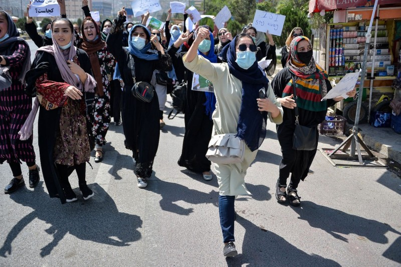 Afghan women protest near the Pakistan embassy in Kabul, a day after the Taliban claimed to have crushed the last outpost of resistance, Sept. 7.