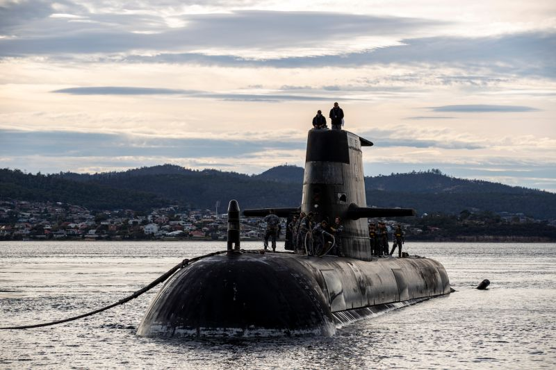 Royal Australian Navy submarine HMAS Sheean arrives for a logistics port visit on Apr. 1 in Hobart, Australia.
