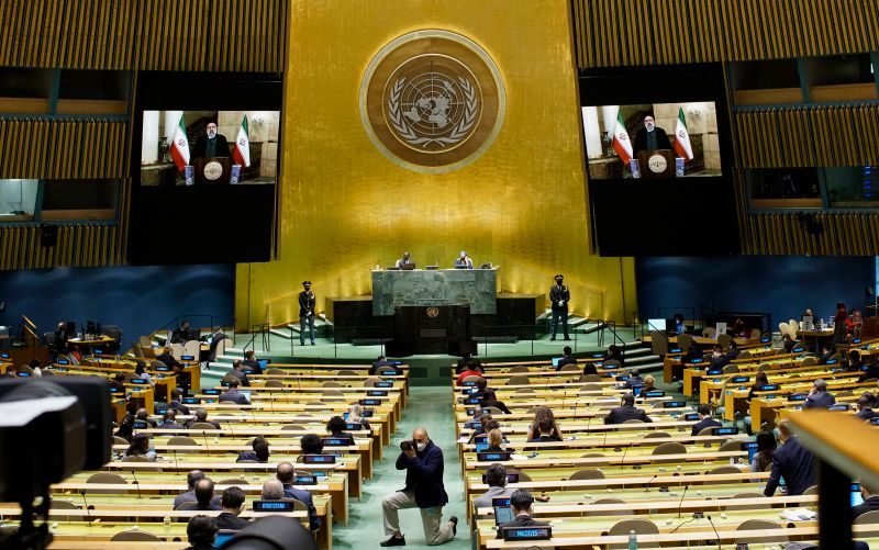 Iranian President Ebrahim Raisi remotely addresses the 76th session of the U.N. General Assembly.