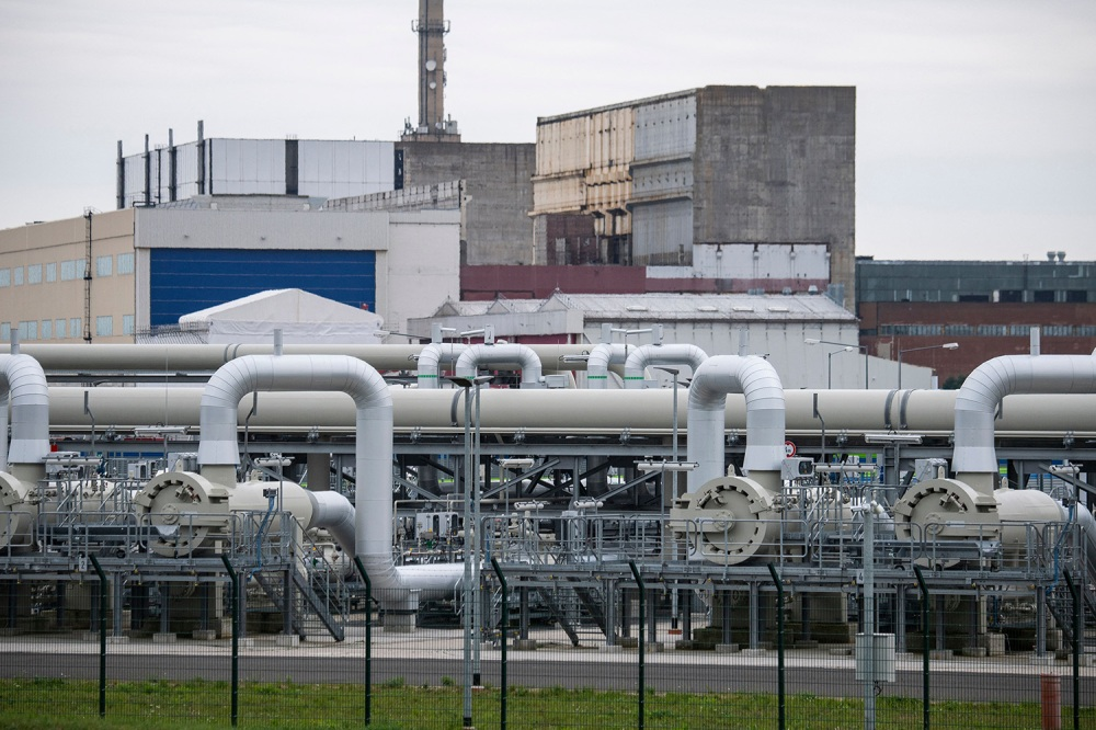 Pipelines at the Nord Stream 2 receiving station in Lubmin on Germanys Baltic Sea coast on September 21, 2021.