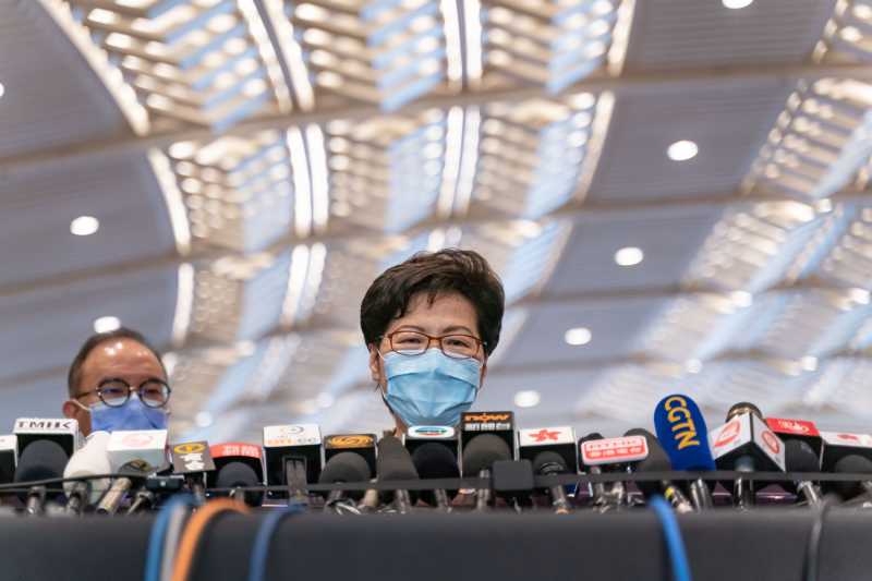 Hong Konger Chief Executive Carrie Lam meets reporters.